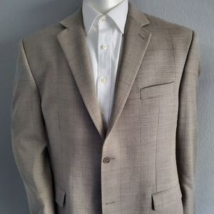 Calvin Klien Wool Tan Windowpane Sport Coat 44L